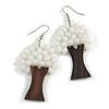 White Glass Bead Brown Wood Tree Drop Earrings - 70mm Long