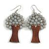 Grey Glass Bead Brown Wood Tree Drop Earrings - 70mm Long