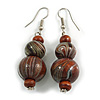Brown/ Black/ White Colour Fusion Wood Bead Drop Earrings with Silver Tone Closure - 55mm Long