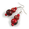 Red/ Black/ Golden Colour Fusion Wood Bead Drop Earrings with Silver Tone Closure - 55mm Long