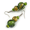 Green/ Black/ Golden Colour Fusion Wood Bead Drop Earrings with Silver Tone Closure - 55mm Long