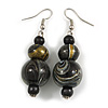 Black/ Gold/ White Colour Fusion Wood Bead Drop Earrings with Silver Tone Closure - 55mm Long