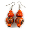 Orange/ Gold/ Black Colour Fusion Wood Bead Drop Earrings with Silver Tone Closure - 55mm Long
