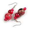 Deep Pink/ Black/ Golden Colour Fusion Wood Bead Drop Earrings with Silver Tone Closure - 55mm Long