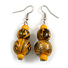 Yellow/ Black/ Golden Colour Fusion Wood Bead Drop Earrings with Silver Tone Closure - 55mm Long
