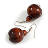 Brown Wood Bead Drop Earrings - 50mm Long