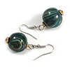 Teal/ Black/ Golden Colour Fusion Wood Bead Drop Earrings with Silver Tone Closure - 40mm Long