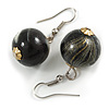Black/ Gold/ White Colour Fusion Wood Bead Drop Earrings with Silver Tone Closure - 40mm Long
