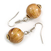 Natural/ Brown/ Golden Colour Fusion Wood Bead Drop Earrings with Silver Tone Closure - 40mm Long