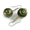 Green/ Black/ Golden Colour Fusion Wood Bead Drop Earrings with Silver Tone Closure - 40mm Long