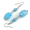 Light Blue Floral Faceted Resin/ Glass Bead Drop Earrings with Silver Tone Closure - 60mm Long