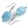 Light Blue Floral Faceted Resin/ Glass Bead Drop Earrings with Silver Tone Closure - 40mm Long
