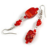 Red Floral Faceted Resin/ Glass Bead Drop Earrings with Silver Tone Closure - 60mm Long