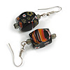 Black Floral Faceted Resin/ Glass Bead Drop Earrings with Silver Tone Closure - 40mm Long