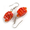 Orange Floral Faceted Resin/ Glass Bead Drop Earrings with Silver Tone Closure - 40mm Long