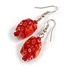 Red Floral Faceted Resin/ Glass Bead Drop Earrings with Silver Tone Closure - 40mm Long