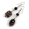 Black Floral Faceted Resin/ Glass Bead Drop Earrings with Silver Tone Closure - 60mm Long