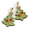 Christmas Sequin Felt/ Fabric Christmas Tree Drop Earrings In Gold Tone - 50mm Long