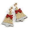 Christmas Sequin Felt/ Fabric Jingle Bell Tree Drop Earrings In Gold Tone - 50mm