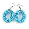 Light Blue Glass Bead Loop Drop Earrings In Silver Tone - 60mm Long