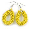 Lemon Yellow Glass Bead Loop Drop Earrings In Silver Tone - 60mm Long