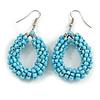Bright Blue Glass Bead Loop Drop Earrings In Silver Tone - 60mm Long