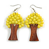 Lemon Yellow Glass Bead Brown Wood Tree Drop Earrings - 70mm Long