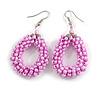Pink Glass Bead Loop Drop Earrings In Silver Tone - 60mm Long