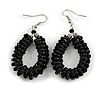 Black Glass Bead Loop Drop Earrings In Silver Tone - 60mm Long