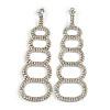 Statement AB/ Clear Crystal Chandelier Long Earrings In Silver Tone Metal - 9cm Drop