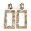 Statement AB Crystal Square Drop Earrings In Gold Tone Metal - 65mm Long