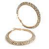 Wide Two Row AB Crystal Hoop Earrings In Gold Tone Metal - 60mm Diameter - Large