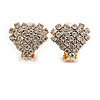 Small Clear Crystal Heart Clip On Earrings In Gold Tone Metal - 18mm Wide