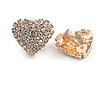 Clear Crystal Heart Clip On Earrings In Gold Tone - 23mm Across