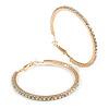 55mm Large AB Crystal Hoop Earrings In Gold Tone Metal