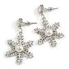 Christmas Crystal, Faux Pearl Snowflake Drop Earrings In Silver Tone - 45mm Long