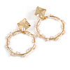 Contemporary Hoop with Pearl Beaded Chain Design Drop Earrings In Gold Tone - 55mm Tall