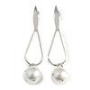 Trendy Loop with Crystal Faux Pearl Bead Drop Earrings In Silver Tone - 70mm Long