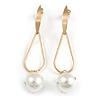 Trendy Loop with Crystal Faux Pearl Bead Drop Earrings In Gold Tone - 70mm Long