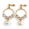 Small Hoop with Dangling Pearl Clear Crystal Earrings In Gold Tone - 45mm Drop