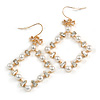 Square White Faux Pearl Bead, Clear CZ Bow Drop Earrings In Gold Tone Metal - 60mm Long
