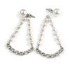 White Faux Pearl Clear Crystal Transformer Drop/ Stud Earrings In Silver Tone - 50mm Long/ 9mm Stud Bead