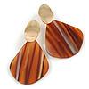 Trendy Stripy Acrylic Teardrop Earrings In Gold Tone (Brown/ Glitter Gold) - 75mm Long