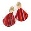 Trendy Stripy Acrylic Teardrop Earrings In Gold Tone (Red/ Glitter Gold) - 75mm Long