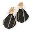 Trendy Stripy Acrylic Teardrop Earrings In Gold Tone (Black/ White/ Glitter Gold) - 75mm Long