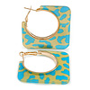Trendy Teal Blue/ Lemon Yellow Animal Print Square Acrylic Hoop Earrings In Gold Tone - 45mm Tall - Medium
