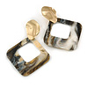 Trendy Black/ White Glitter Acrylic Square Earrings In Gold Tone - 70mm Long