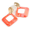 Trendy Coral Pink Glitter Acrylic Square Earrings In Gold Tone - 70mm Long