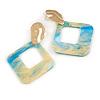 Trendy Light Blue/ Cream Glitter Acrylic Square Earrings In Gold Tone - 70mm Long
