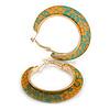 Trendy Orange/ Green Floral Print Acrylic Hoop Earrings In Gold Tone - 43mm Diameter - Medium